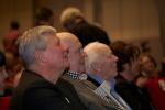 Lars Werner flankeras Av Lars Ohly och CH Hermansson på kongressen 2012