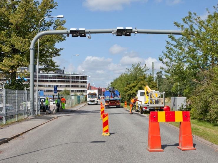 Betalstation under uppbyggnad. Pressbild från Transportstyrelsen. Fotograf: Johan Siverklev.