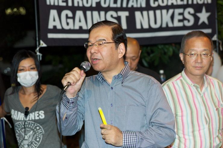 JKP:s ordförande Kazuo Shii [志位 和夫] vid demonstrationer mot kärnkraften i september i år.