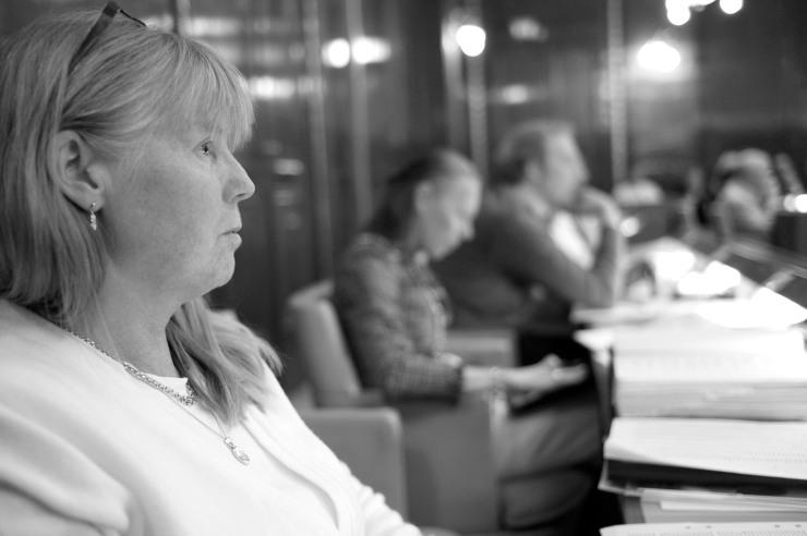 Marie Lindén (V) lyssnar på Birgitta Gunér (M).