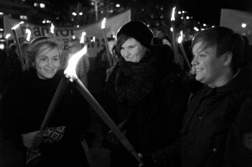 Sofia Nyström, Linnea Skoglund och Malin Persson från Feministiskt Självförsvar Göteborg – F.S.G – var på plats.