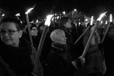 Det var mest kvinnor i manifestationen.
