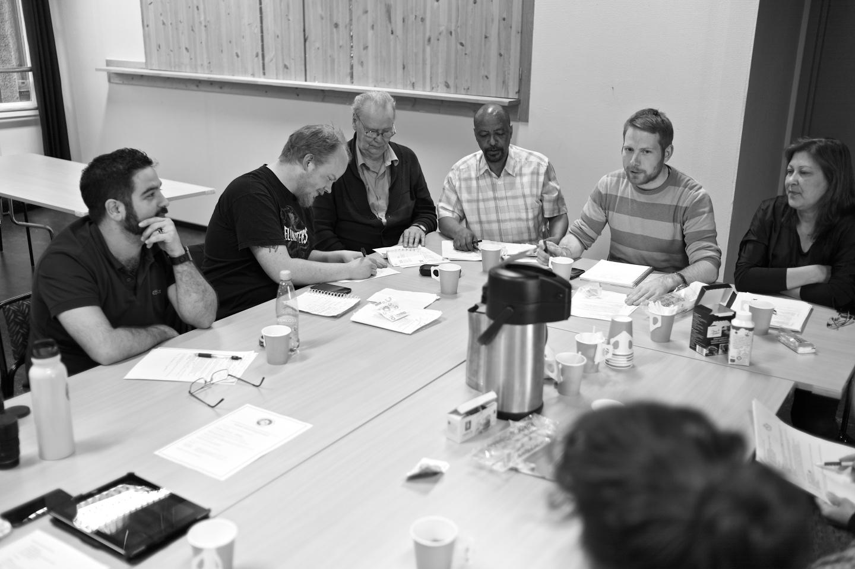 Ilkkan, Martin, Mauno, Berhane, Mattias och Nadia i planeringstagen.