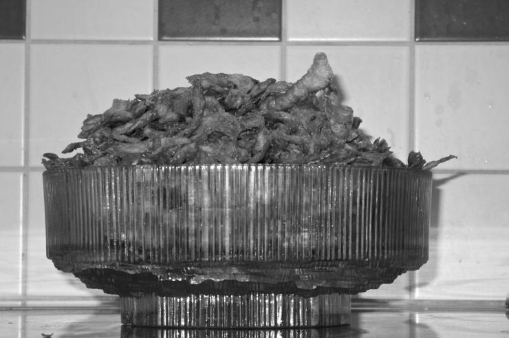Friterade potatisskal från fyra kilo ekologisk potatis räcker en hel lördagsfilm.