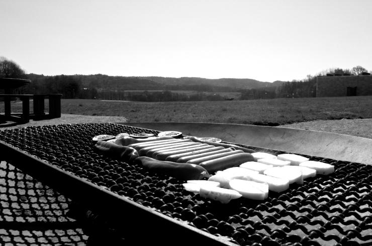 Vegokorv, halloumi, aubergine och paprika på grillen med vidunderlig utsikt.