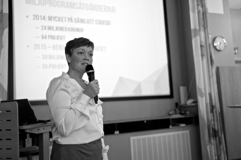 Lotta Silfver, Miljöförvaltningen, presenterade nuläget för arbetet med miljöprogrammet.