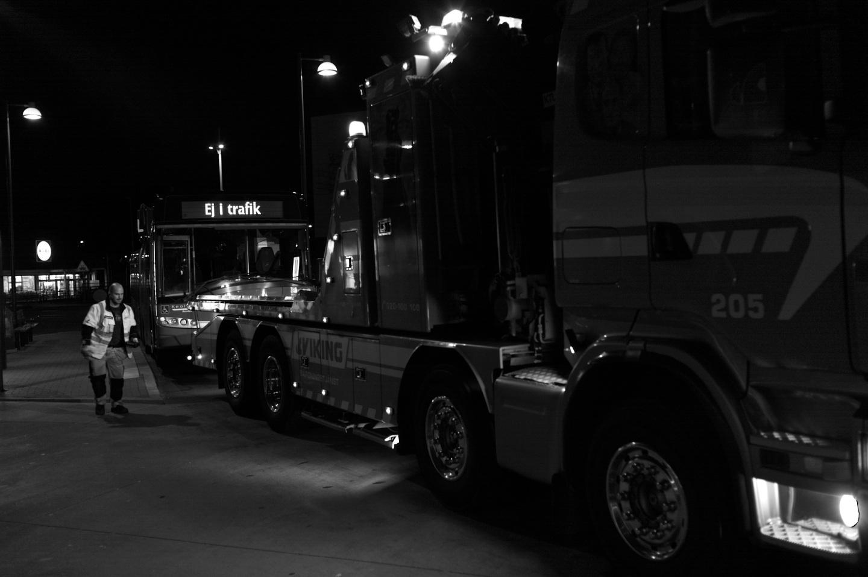 Bussbärgning i Angered centrum tidigare i år.