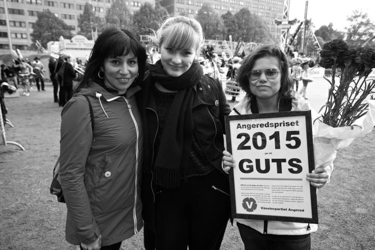Rossana Dinamarca, partistyrelsen, Lisa Sergeeva, ordförande Vänsterpartiet Angered, och Denise Qvarnström, Guts.