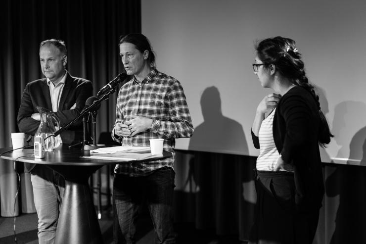 Jonas Sjöstedt, Rikard Warlenius och Shora Esmailian.